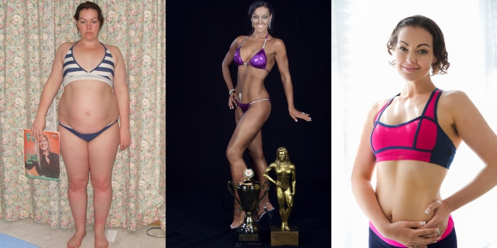 I get asked a bit for 'before and afters', It's hard because my life didn't stop when I got to my goal weight. In lots of ways, it just started. But, here are the cliff notes! Before, 2 years exactly on stage in a Bikini Bodybuilding show, and my normal 'running around' weight.